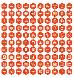 100 auto icons hexagon orange vector
