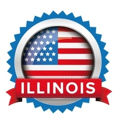 Illinois and usa flag badge vector