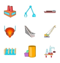 Construction plant icons set cartoon style vector