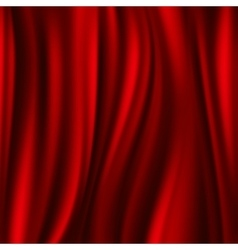 Red silk satin flowing textile wavy abstact vector