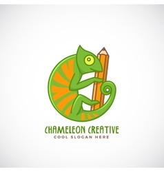 Chameleon creative abstract line style vector