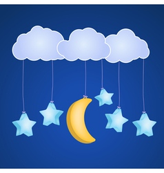 Clouds moon and stars vector