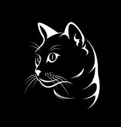 Cat face design on black background vector