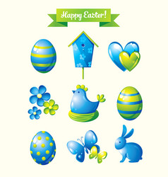 Happy easter design elements set vector