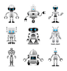 Robots icons set vector