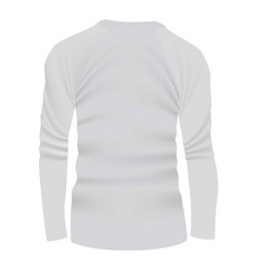 Back of white tshirt long sleeve mockup vector