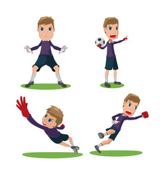 Soccer goalkeeper character pose set vector