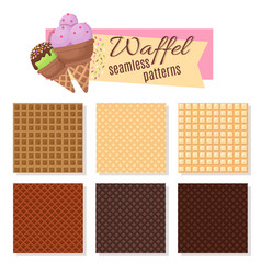 ice cream waffel cone seamless patterns vector image