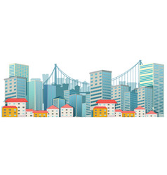 City scene with tall buildings vector