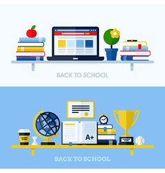 School concepts with bookshelf and school supplies vector
