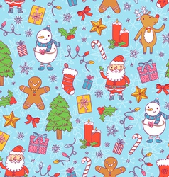 Christmas pattern on blue background vector image