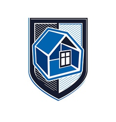 Property protection idea stylized heraldic symbol vector