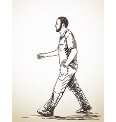 Walking young man vector
