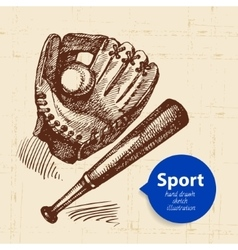 Hand drawn sport object sketch baseball vector