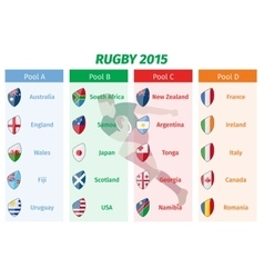 Rugby world cup 2015 pool a b c d teams set vector
