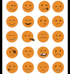 Icons set 20 characters orange vector