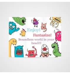 Design of brochure with abstract monsters pattern vector