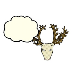 Cartoon stag head with thought bubble vector