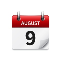August 9 flat daily calendar icon date vector