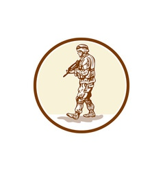 American soldier rifle walking circle cartoon vector