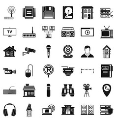 Bank camera icons set simple style vector