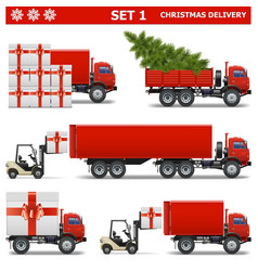 Christmas Delivery Set 1 vector image