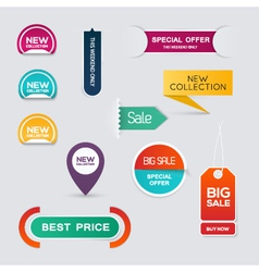 Collection of Sale Discount Styled origami Banners vector image