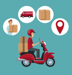 color background with man scooter with packages vector image vector image