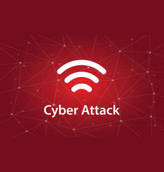 Cyber attacks white text with vector