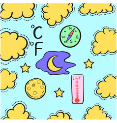 Doodle of weather with yellow cloud vector