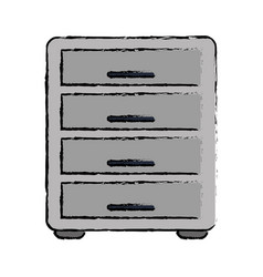 Drawing file cabinet archive workplace vector