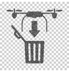 Drone Drop Trash Grainy Texture Icon vector image vector image