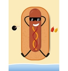 Funny Hot-Dog on beach vector image vector image