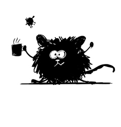 Funny rodent black silhouette Sketch for your vector image vector image