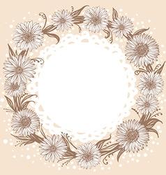 graphic monochrome flowers wreath vector image vector image