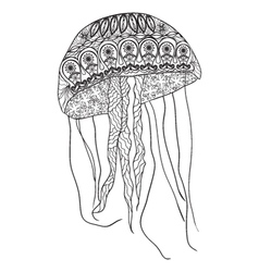 Hand-drawn jellyfish with zentangle- doodle patten vector