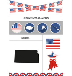map of kansas set of flat design icons vector image vector image