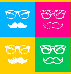 Mustache and glasses sign four styles of icon on vector