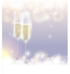 new year eve celebration background two glasses vector image