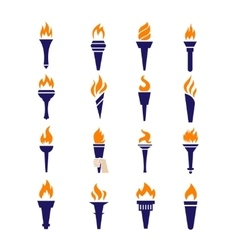 Olympic fire torch victory championship flame flat vector