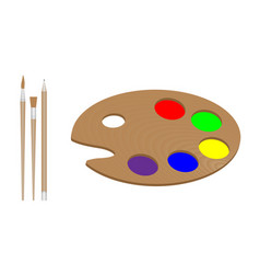 Palette for the artist two brushes and a pencil vector
