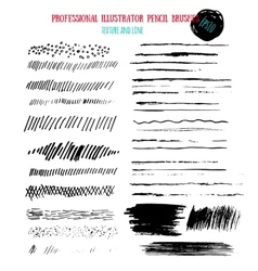 Pencil grunge brushes Abstract hand drawn art ink vector image vector image