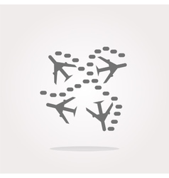 Plane set on icon glossy button isolated on vector image