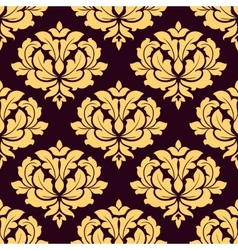 Pretty gold and brown seamless damask pattern vector image