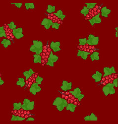 Seamless pattern redcurrant on red background vector