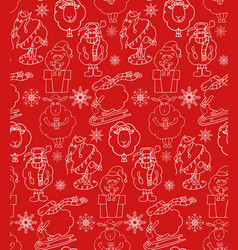Seamless texture with outline christmas holiday vector