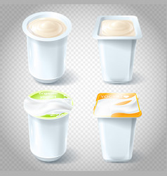 set of of plastic yogurt cups vector image