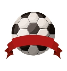 Silhouette color with soccer ball and ribbon vector