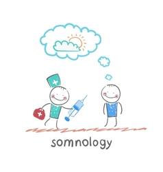 somnology stands next to a syringe with a patient vector image vector image