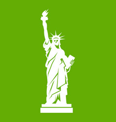 statue of liberty icon green vector image